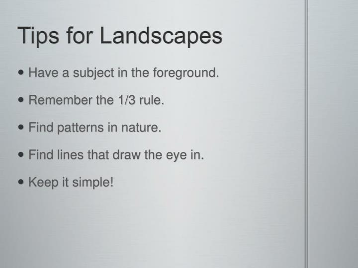 Tips for Landscapes