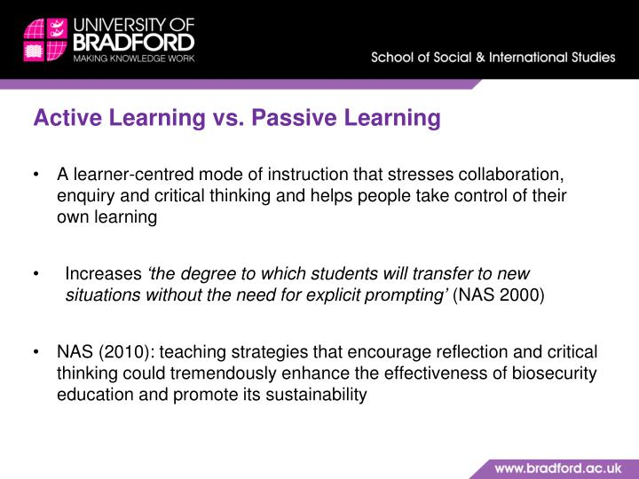 Active Learning vs. Passive Learning