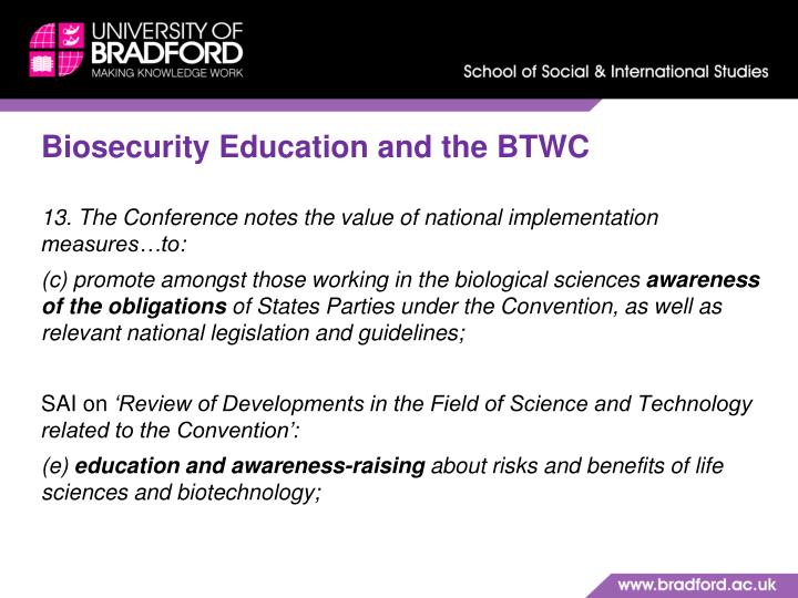 Biosecurity Education and the BTWC