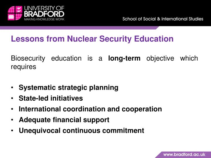 Lessons from Nuclear Security Education