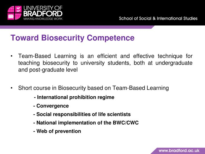 Toward Biosecurity Competence