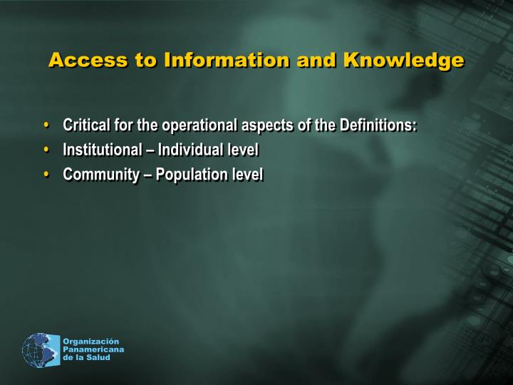 Access to Information and Knowledge