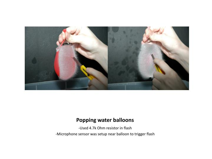 Popping water balloons