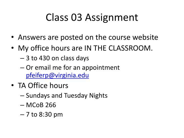 Class 03 Assignment