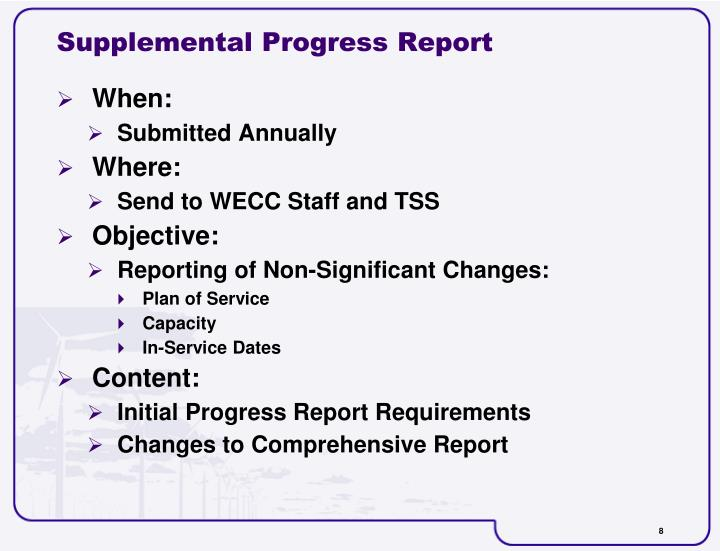 Supplemental Progress Report