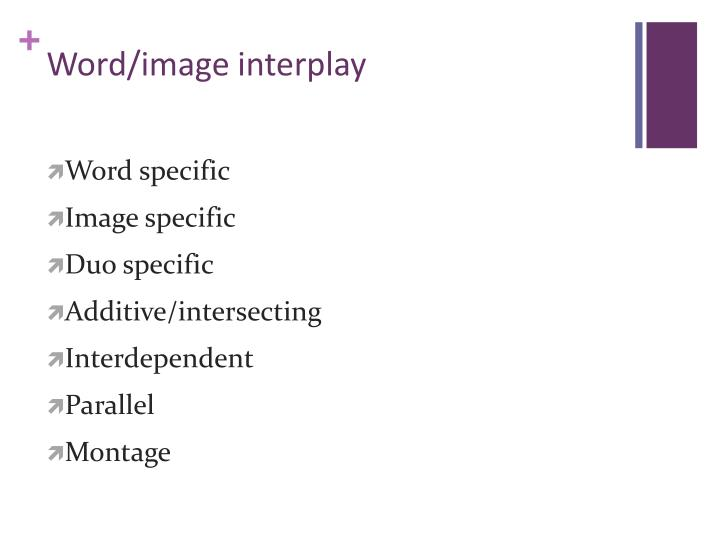 Word/image interplay