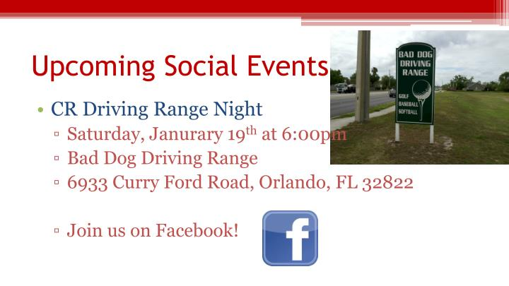 Upcoming Social Events