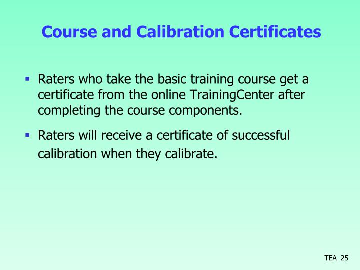 Course and Calibration Certificates