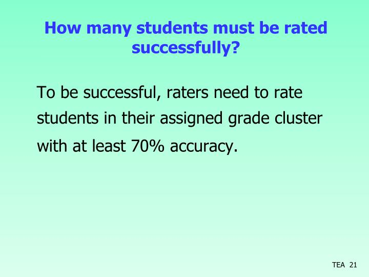 How many students must be rated successfully?