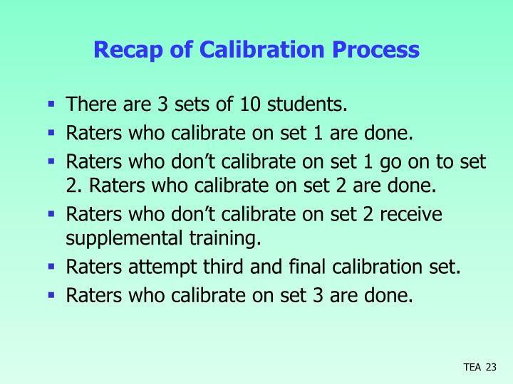 Recap of Calibration Process