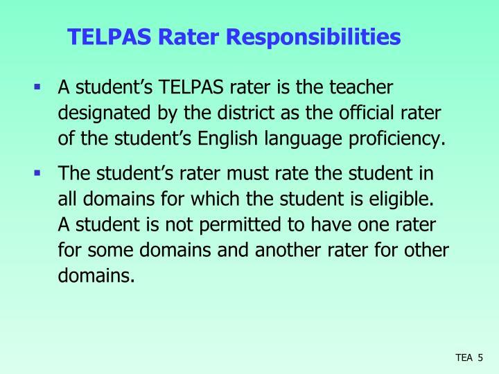 TELPAS Rater Responsibilities