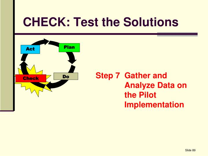 CHECK: Test the Solutions