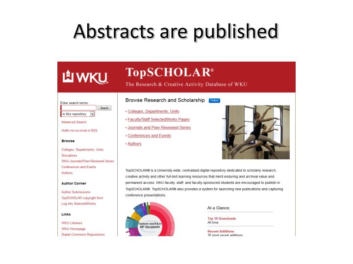 Abstracts are published