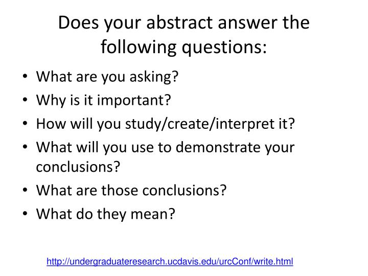 Does your abstract answer the following questions: