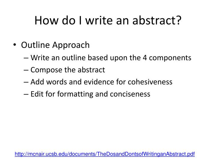How do I write an abstract?