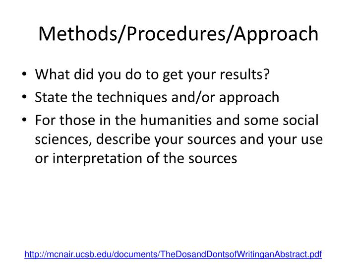 Methods/Procedures/Approach