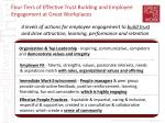 four tiers of effective trust building and employee engagement at great workplaces