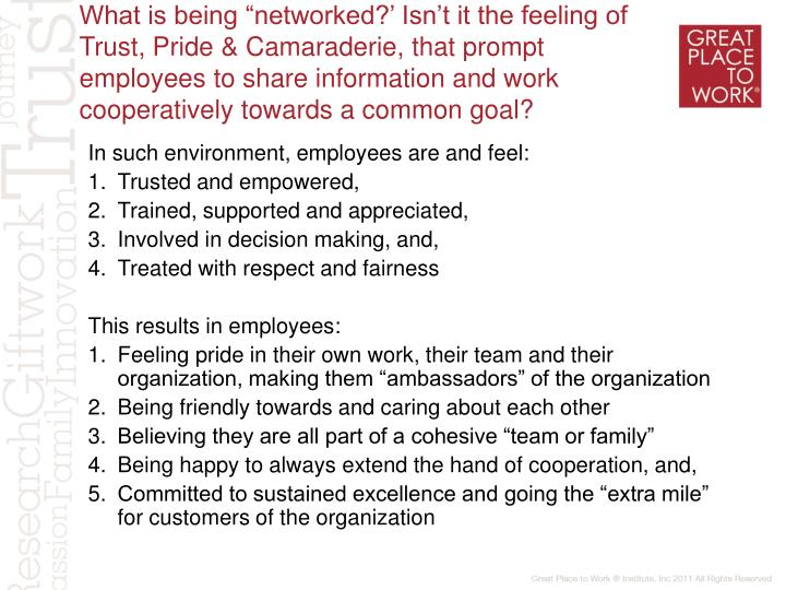 "What is being ""networked?' Isn't it the feeling of Trust, Pride & Camaraderie, that prompt employees to share information and work cooperatively towards a common goal?"