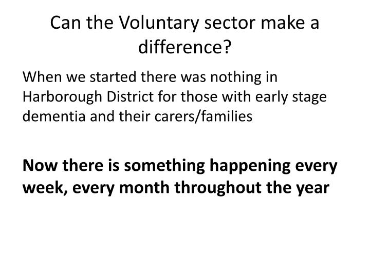 Can the Voluntary sector make a difference?