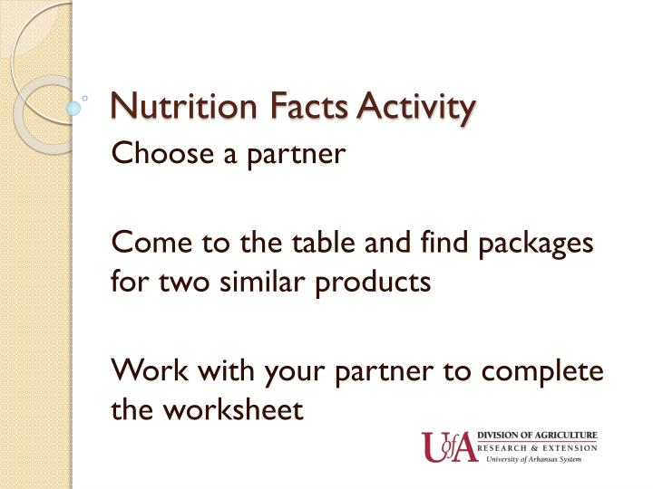Nutrition Facts Activity