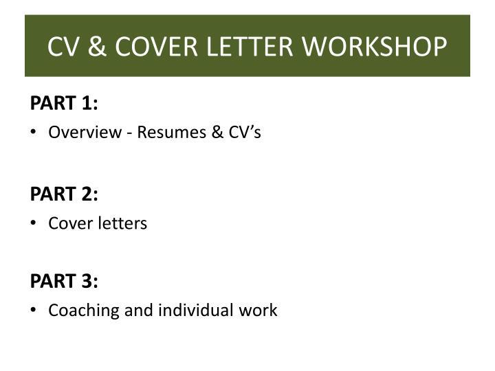 CV & COVER LETTER WORKSHOP