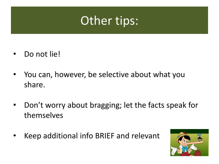 Other tips: