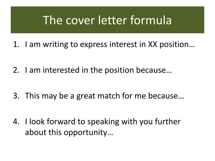The cover letter formula