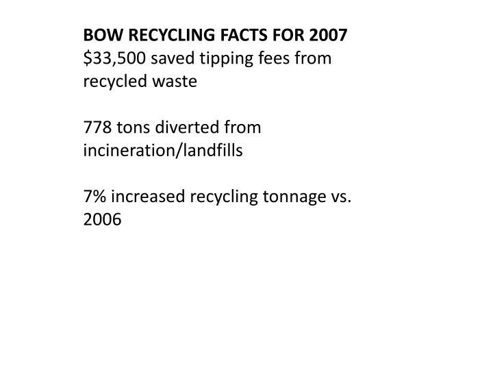 BOW RECYCLING FACTS FOR 2007