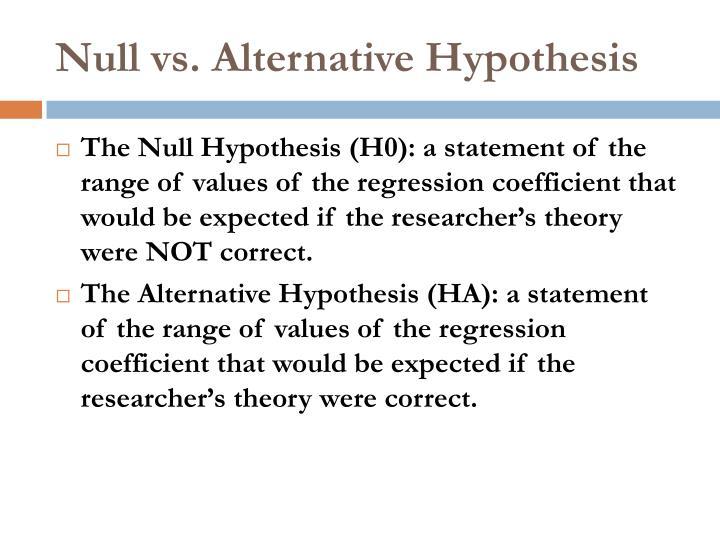 Null vs. Alternative Hypothesis