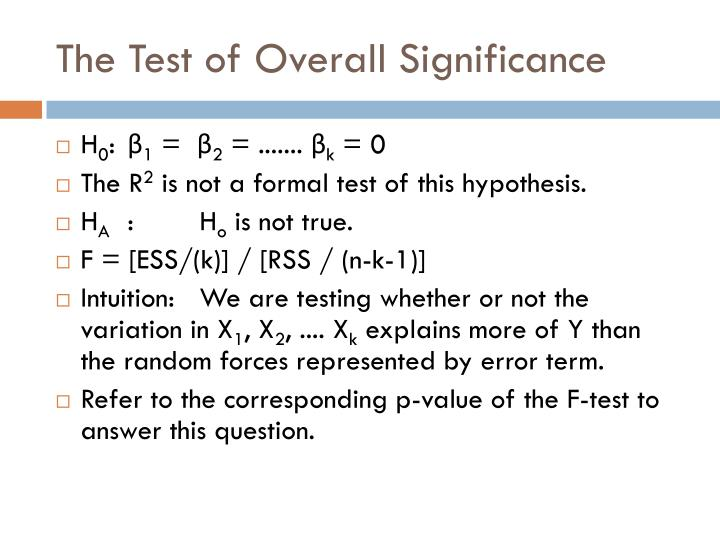 The Test of Overall Significance