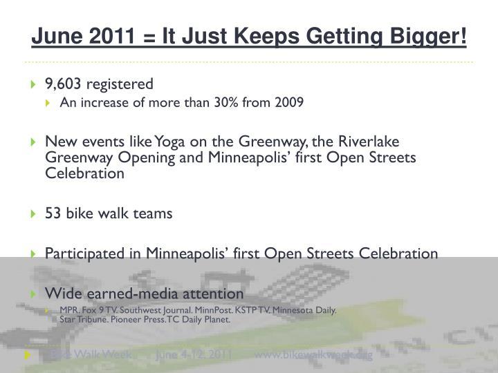 June 2011 = It Just Keeps Getting Bigger!