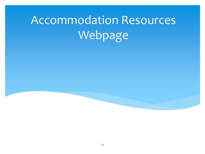 Accommodation Resources Webpage