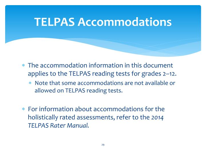 TELPAS Accommodations