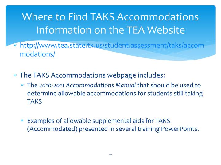 Where to Find TAKS Accommodations Information on the TEA Website