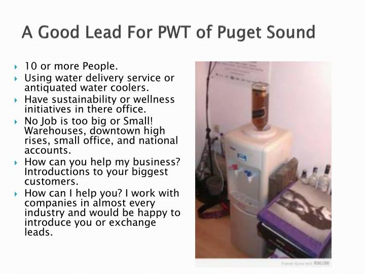 A Good Lead For PWT of Puget Sound