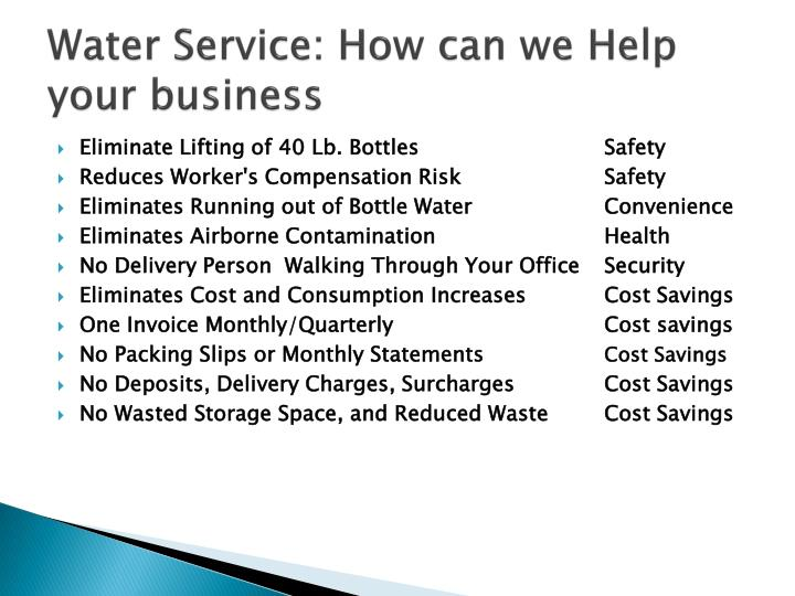 Water Service: How can we Help your business