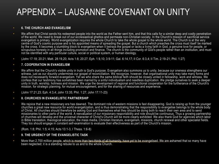 Appendix – Lausanne Covenant on Unity