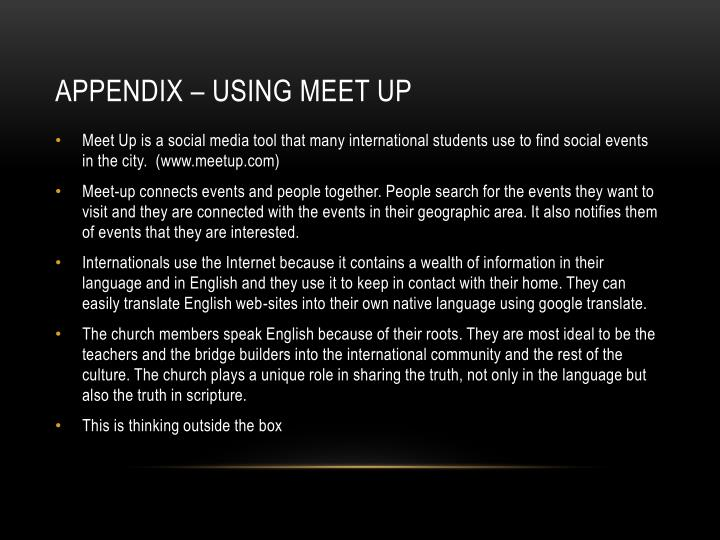 Appendix – Using Meet Up