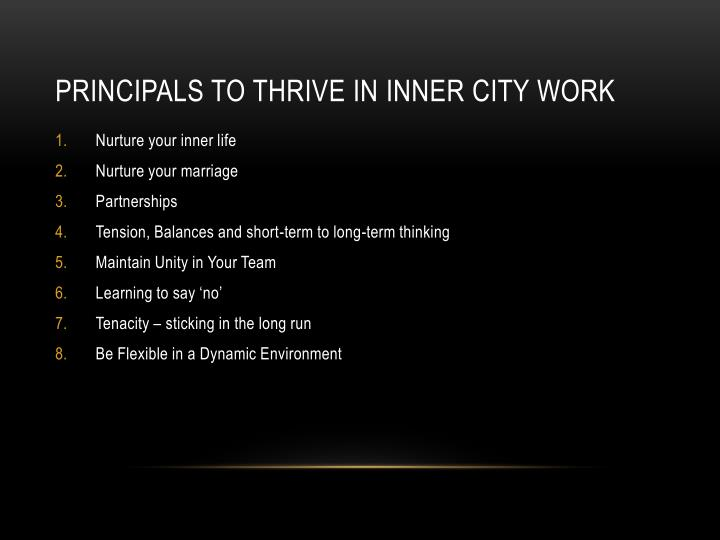 Principals to Thrive in Inner City Work