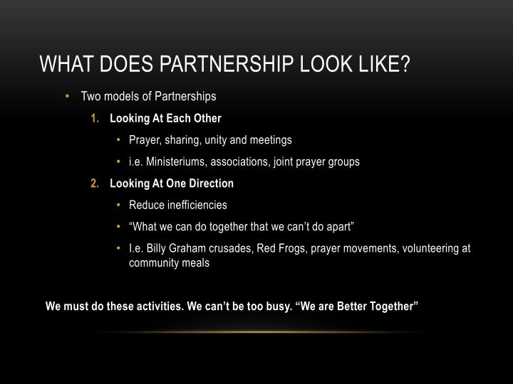 What does partnership look like?