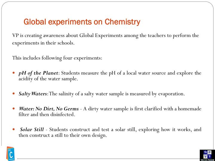 Global experiments on Chemistry