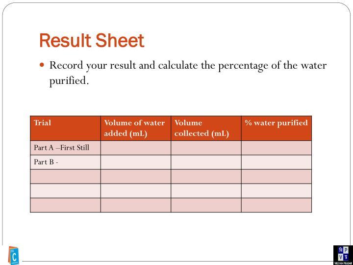 Result Sheet