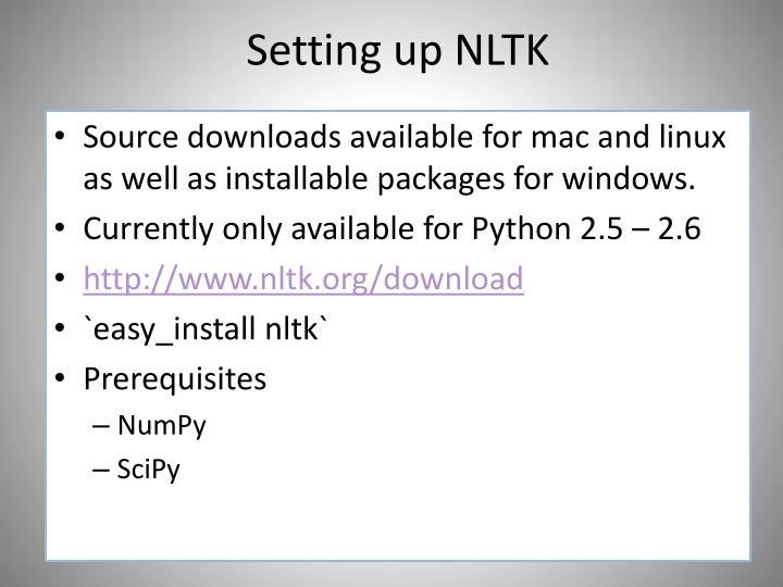 Setting up NLTK