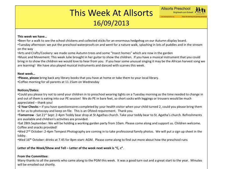 This week at allsorts 16 09 2013