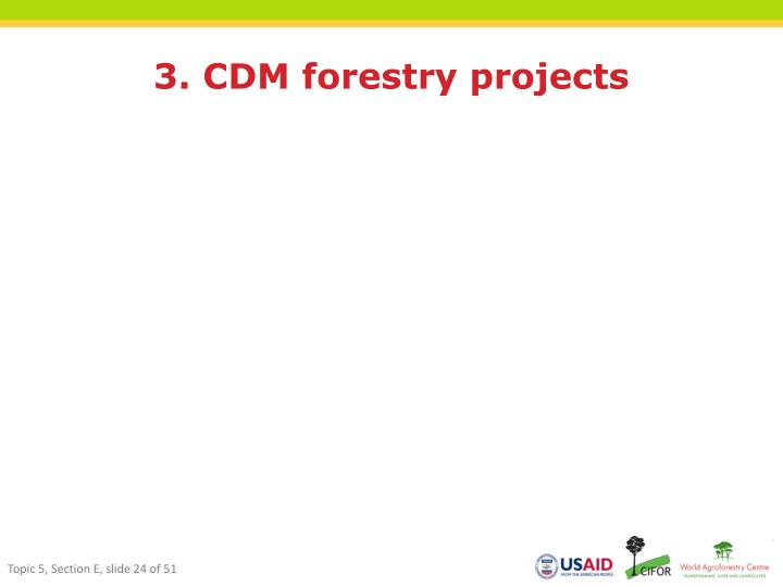 3. CDM forestry projects