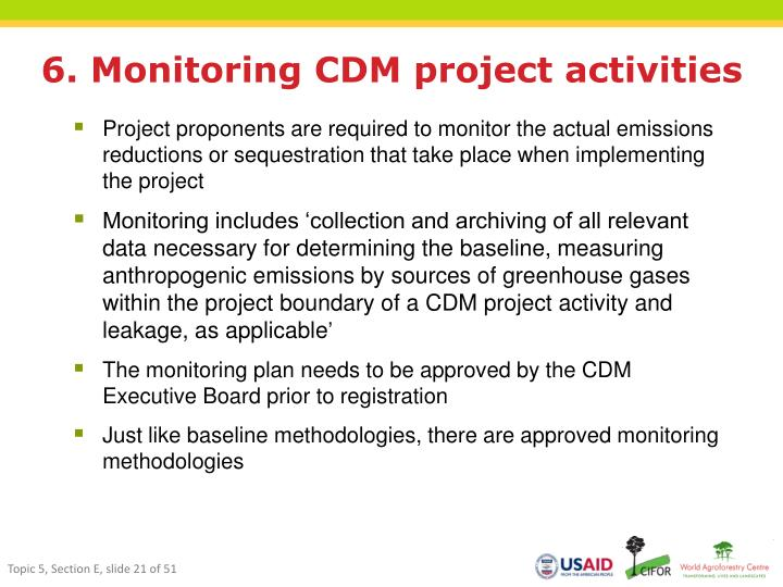 6. Monitoring CDM project activities