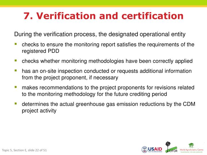 7. Verification and certification