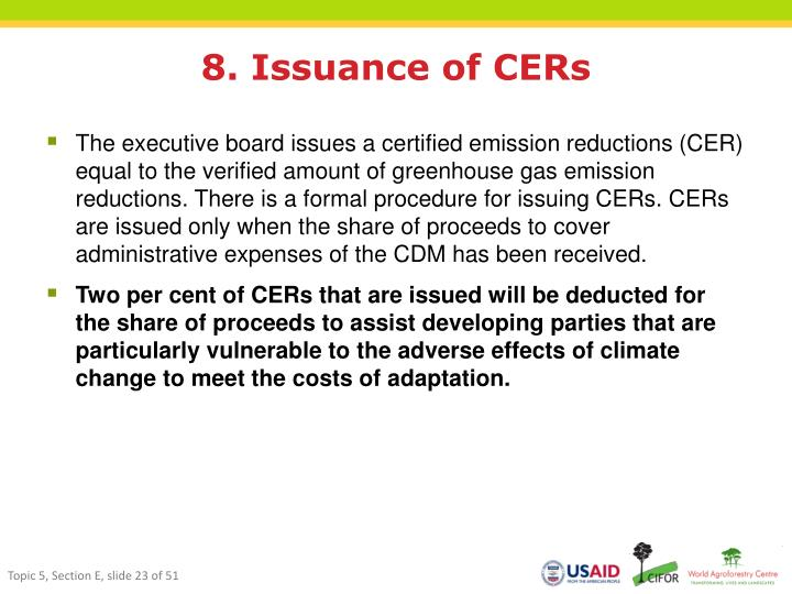 8. Issuance of CERs