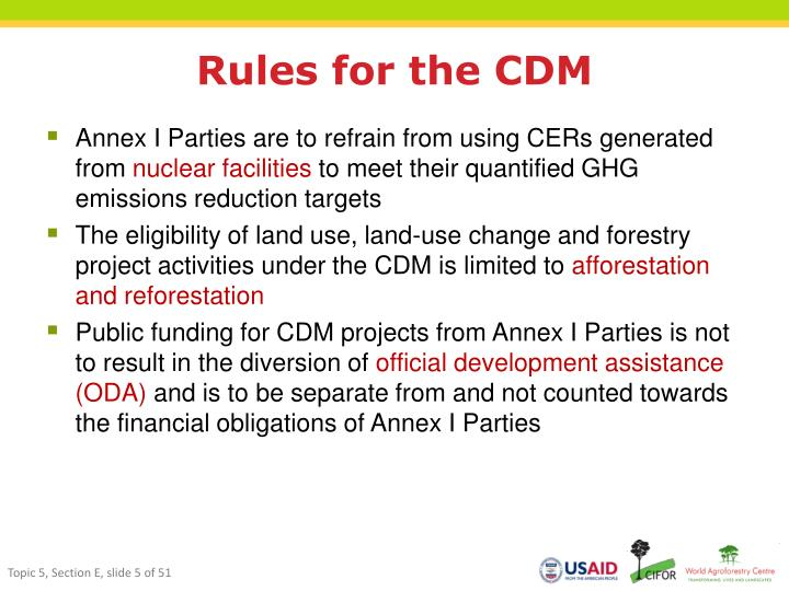 Rules for the CDM