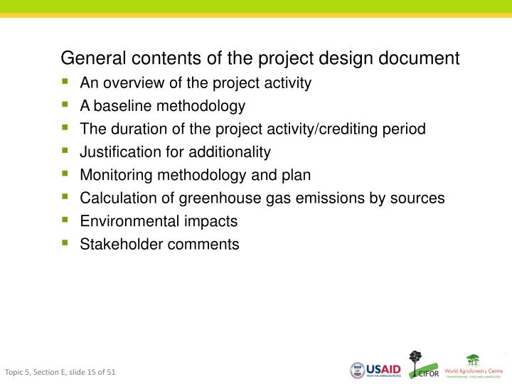 General contents of the project design document